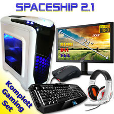 gamer pc game komplett Set mit monitor Computer Rechner AMD Quad Core  8GB RAM
