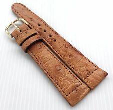 19 mm Genuine Real Ostrich Skin Leather Golden Tan Watch Strap Grade A 01 New