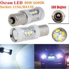 2x HID White 80W 1156 BA15S P21W Osram LED Bulbs Car Backup Reverse Signal Light