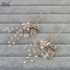 Wedding Bridal Jewellery Shiny Rhinestone Crystal Flower Gold Hair Comb Clip Pin