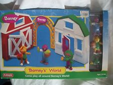 1998 Playskool Barney's World Playset New Old Stock With 3 Figures BJ Baby Bop