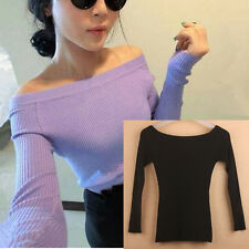 Women's Top Off the Shoulder CHINA Black Rib Knit Sweater Long Sleeve S XS