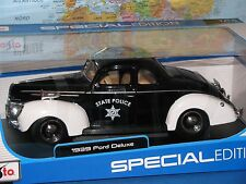 1/18 1939 FORD DELUXE STATE POLICE MAISTO SPECIAL EDITION DIECAST **BRAND NEW**