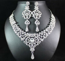 STUNNING CLEAR AUSTRIAN RHINESTONE BIB NECKLACE EARRINGS SET BRIDAL PARTY N1653C