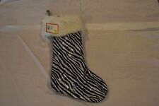"""Sequin Zebra Animal Print With Fur 20"""" Silver Xmas Stocking By: Target New W/Tag"""