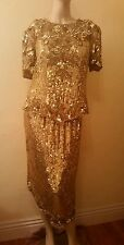 VTG NIGHT VOGUE GOLD BEADED SEQUINED DRESS SILK HOLIDAY COCKTAIL 80s 90s M L