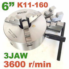 "1 pc Lathe Chuck 6"" 3 Jaw Self Centering w/2 sets Jaw K11-160 sct-888"