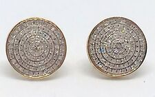 Mens Ladies 10K Yellow Gold 3D Circle Real Diamonds Domed Stud Earrings 0.42 Ct