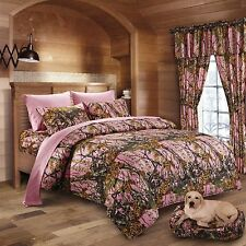 17 PC SET REGAL COMFORT PINK CAMO COMFORTER SHEET CAL KING  CAMOUFLAGE CURTAINS