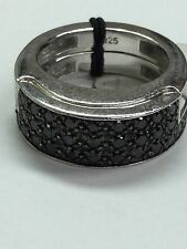 Guess 925 Sterling Silver Micro Pave Ring With Black CZ Stones Size 7