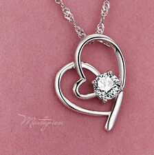 925 Silver heart w white crystal Rhinestones pendant necklace - SH8