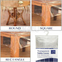 NEW TRANSPARENT CLEAR PVC VINYL WIPE CLEAN WATERPROOF TABLE COVER TABLECLOTH