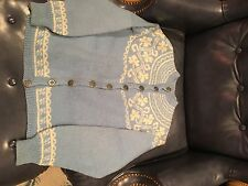 Baby blue white Norwegian hand knit wool traditional woman's sweater very good