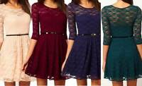 Ladies Mini Dress Cocktail Party Bridesmaid Prom Lace Skater Size 6 8 10 12 Belt