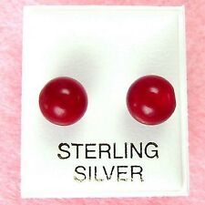 Sterling Silver - 8mm Red Coral Ball Stud Earrings (SE174)