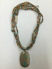 Navajo Hand Made Boulder Turquoise Sterling Silver Pendant With Beads Chain Set