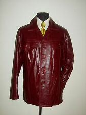VINTAGE 70S ITALY SHINY LEATHER SOFT WESTERN CAR COAT QUILTED JACKET XL