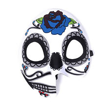 "Women's Day Of The Dead Halloween Sugar Skull Half Split Face Eye Mask - ""Sofia"""