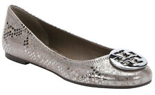 NEW TORY BURCH Reva Logo PEWTER Metallic Snake Print Ballet Flat Shoes Size 7.5