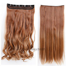 "17""-30"" Long New Curly Wavy Straight CLIP IN On HAIR EXTENSION 3/4 Full head ssn"