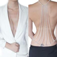 Sexy Belly Waist Back Backless Pearl Body Chain Beach Harness Necklace Jewelry