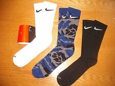 Mens Nike Crew Socks NWT 3prs Cotton Black Blue Gray CAMO Authentic DRI-FIT 8-12