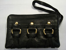 Soft Leather Ladies Matinee Coin Purse Black Wrist Strap Country and Western
