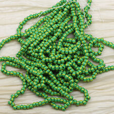 6/0 OPAQUE GREEN WITH YELLOW STRIPES CZECH SEED BEADS -70grams!!!