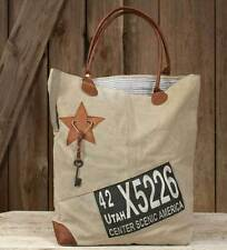Utah Tote Bag Key Charm Rustic Canvas Leather Carry Shop Handbag Backroads Purse