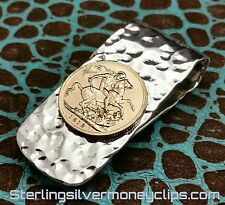 37g HAMMERED GOLD SOVEREIGN Argentium 22k 935 Sterling Silver Money Clip USA