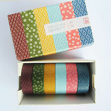 set of 6 mt wamon Japanese patterned washi masking tape - blue pink yellow green
