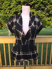 Nanette Lepore Sz 6 Colette Plaid Fleece Wool Jacket Ruffled Bustle Back Rt $498