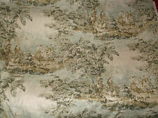 5TH AVENUE COVINGTON BOSPORUS FABRIC PICTORIAL PASTORAL CRACKLE TOILE FLAX 5yds