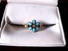 "ANTIQUE VICTORIAN 14K ROSE GOLD RING ""FORGET-ME-NOT"":NATURAL TURQUOISE & DIAMOND"