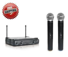 NEW PROFESSIONAL 2 MIC 2 CHANNEL UHF DUAL CORDLESS WIRELESS MICROPHONE SYSTEM