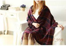 20 Colors Women Wool Tassels Plaid Checks Warm Winter Long Soft Scarf Shawl Wrap
