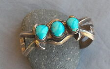 Vintage Native American Heavy Cast Silver Turquoise Cuff Bracelet 64 grams
