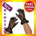 AS105 Short Stretch Black Fingerless Lace Gloves Lingerie Burlesque Costume