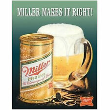 Miller Makes It Right Retro Tin Beer Sign Old Antique Style Bar Decor USA Gift