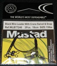 Mustad Wire Leader Crane Swivel and Snap 18cm 15lb Test WLB77240-1815 Pack of 3