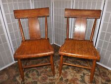 Pair of Antique Grained Painted Chairs Faux Grain 1870's Era American Cottage