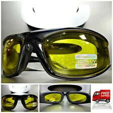 MOTORCYCLE BIKER RIDING Day Night DRIVING PADDED Yellow Lens SUN GLASSES GOGGLES
