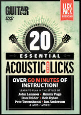 20 Essential Beginners ACOUSTIC ROCK BLUES LICKS Guitar Lessons Video DVD + PDF
