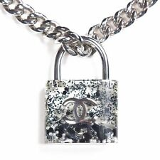 CHANEL LARGE PADLOCK NECKLACE - 2014 - PEARL SILVER CHAIN BLACK WHITE CC LOCK