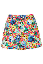 Topshop Multi Fluro Polyester Floral Print Summer Shorts BNWT UK 10 US 6 RRP £34