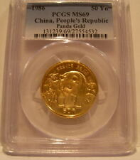 China 1986 Gold 1/2 oz Panda 50 Yuan PCGS MS-69