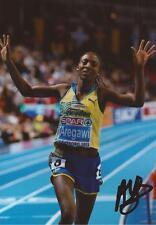 ATHLETICS: ABEBA AREGAWI SIGNED 6x4 ACTION PHOTO+COA *SWEDEN* *ETHIOPIA*