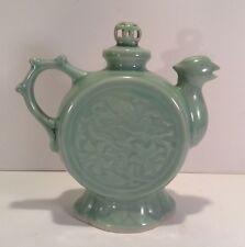 "Vintage Chinese Teapot w/ Bird Dragon Spout Unique Lid Sea foam Green 9"" x 8"""