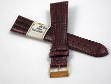 20mm ZRC Burgandy Teju Lizard Vintage Mens Watch Band France Gold Tn Buckle NOS