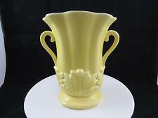 "RED WING USA #1357 YELLOW ON GRAY DOUBLE HANDLE EMBOSSED LEAF 7 1/2"" OVAL VASE"